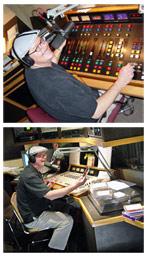 Two photos of Drew Miller on the air doing the radio show