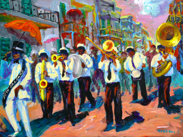 Painting of a second line parade